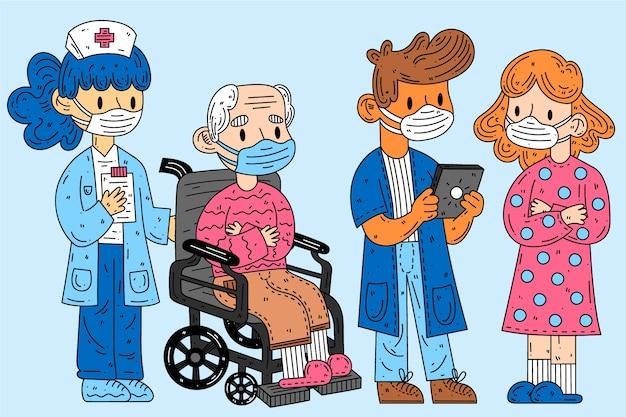 Grupa ludzi noszących maski medyczne