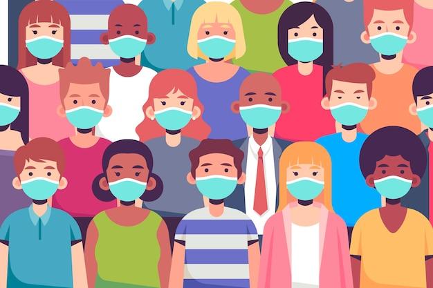 Grupa ludzi noszących maski na twarz