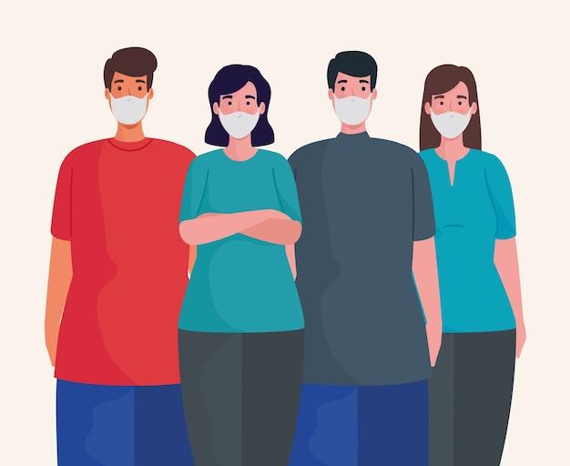 Grupa ludzi noszących postacie masek medycznych