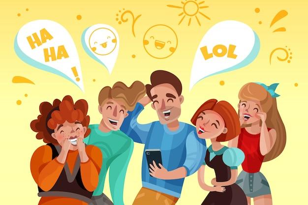 Grupa ludzi ogląda śmiesznego wideo i śmiejącą się kreskówkę