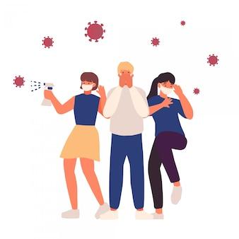 Grupa ludzi okaleczająca i używa medyczne maski podczas epidemicznych chorób ilustracyjnych