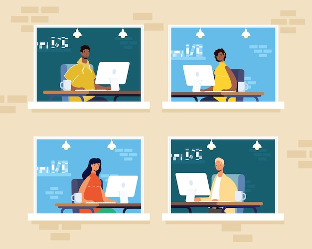 Grupa ludzi pracujących na komputerach stacjonarnych w scenach okiennych stanowisk pracy