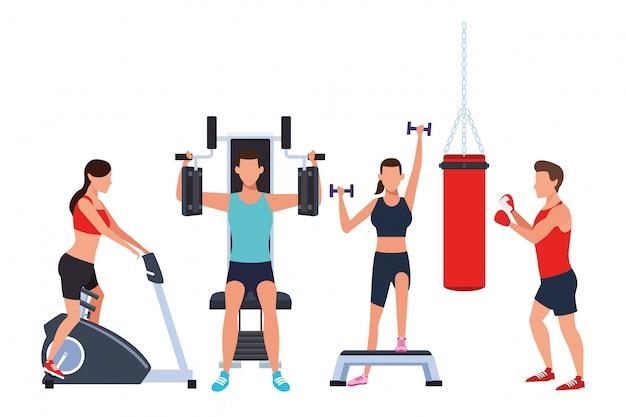 Grupa ludzi pracujących w siłowni