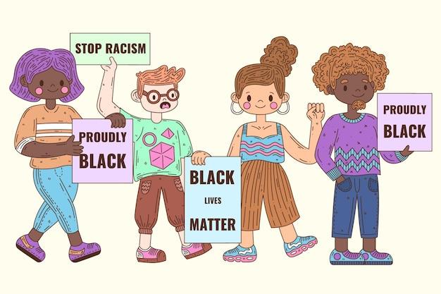 Grupa ludzi protestujących przeciwko rasizmowi za pomocą tabliczek