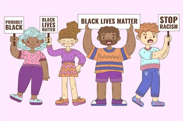 Grupa ludzi protestujących przeciwko rasizmowi