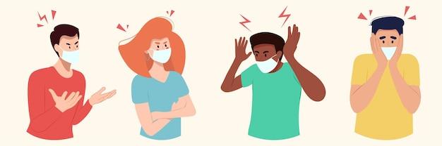 Grupa ludzi przedstawia w maskach gniew emocji