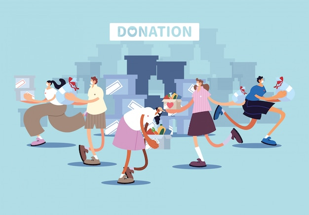 Grupa ludzi przekazuje darowiznę na cele charytatywne