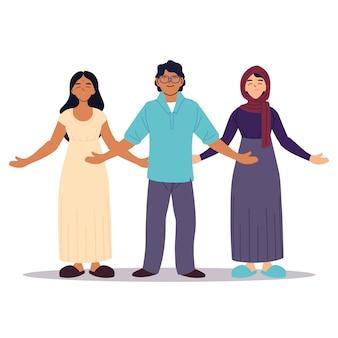 Grupa ludzi razem, różnorodność lub wielokulturowość.
