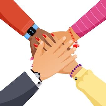 Grupa ludzi ręce razem płaski ilustracja. współpraca, partnerstwo, koncepcja kreskówka pracy zespołowej.