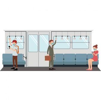 Grupa ludzi robi dystans społeczny w pociągu