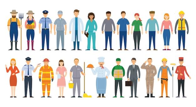 Grupa ludzi różnych zawodów i zawodów, kariera, robotnik, praca