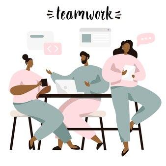 Grupa ludzi siedzi przy stole i omawia pomysły, wymienia informacje, rozwiązuje problemy. burza mózgów lub praca zespołowa.