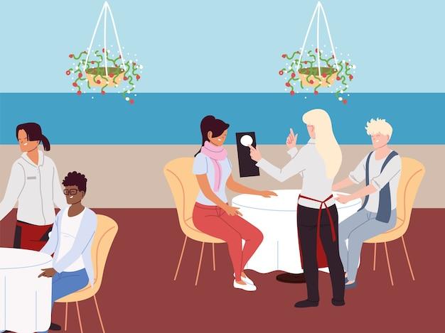 Grupa ludzi siedzi przy stole i zamawia posiłek
