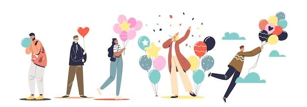 Grupa ludzi świętujących wakacje lub urodziny z kolorowych balonów i konfetti. szczęśliwy wesoły przyjaciele lub pracownicy zespołu świętowania lub przygotowania strony. płaska ilustracja wektorowa