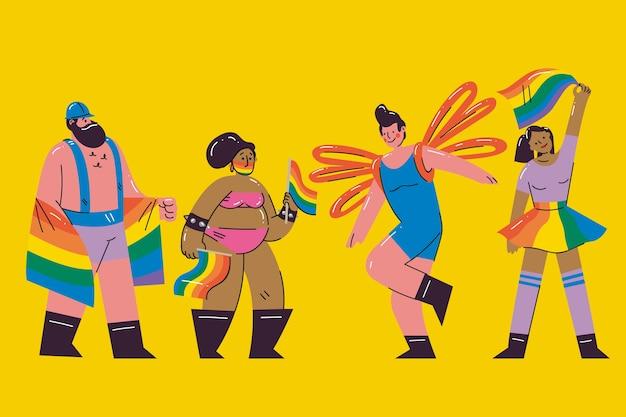 Grupa ludzi świętuje duma dnia ilustrację