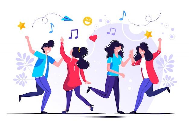 Grupa ludzi tańczących i bawiących się przy muzyce