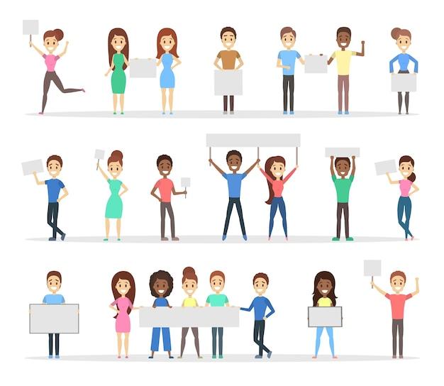 Grupa ludzi trzymających w rękach puste białe sztandary. promocja i reklama. ilustracja
