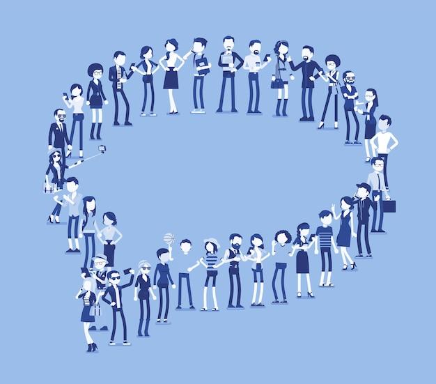Grupa ludzi tworzących kształt bańki mowy