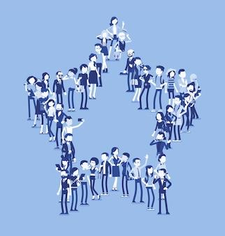 Grupa ludzi tworzących kształt gwiazdy