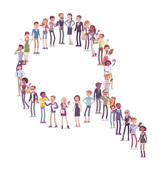 Grupa ludzi tworzących kształt lupy. członkowie różnych narodów, płci, wieku, zawodów stoją razem tworząc symbol badań społecznych. wektor ilustracja kreskówka płaski na białym tle, białe tło