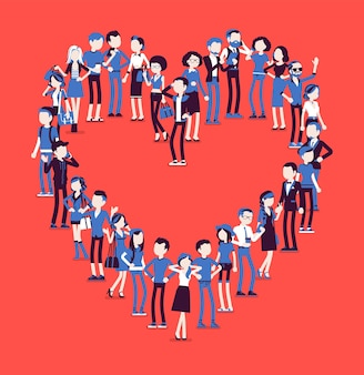 Grupa ludzi tworzących kształt serca