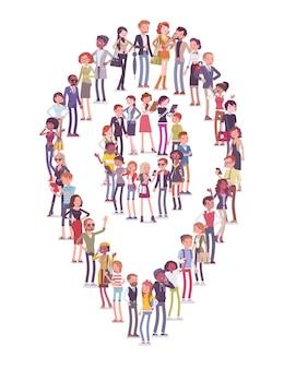 Grupa ludzi tworzy kształt pinezki mapy. członkowie różnych narodowości, płci, wieku, zawodów stoją razem, tworząc ikonę oznaczającą miejsca podróży. wektor ilustracja kreskówka płaski na białym tle, białe tło