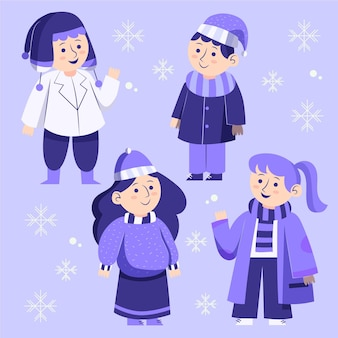 Grupa ludzi ubranych w przytulne ubrania na zimę