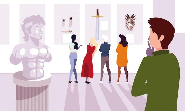 Grupa ludzi w galerii sztuki współczesnej, goście wystawy oglądający nowoczesne obrazy abstrakcyjne