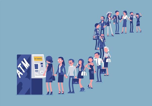 Grupa ludzi w kolejce w pobliżu bankomatu