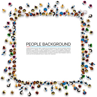 Grupa ludzi w kształcie banera ramki, na białym tle. ilustracja wektorowa