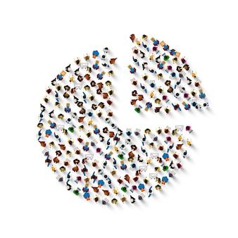 Grupa ludzi w kształcie ikony wykresu, na białym tle. ilustracja wektorowa