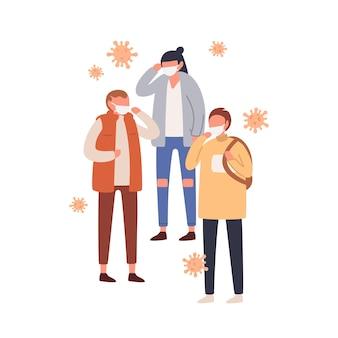 Grupa ludzi w maski ochronne płaskie ilustracja.