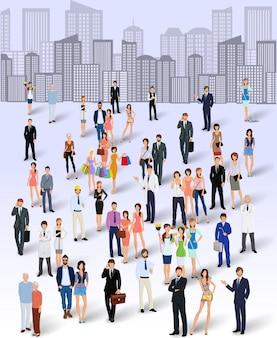 Grupa ludzi w mieście