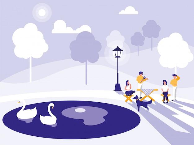 Grupa ludzi w parku