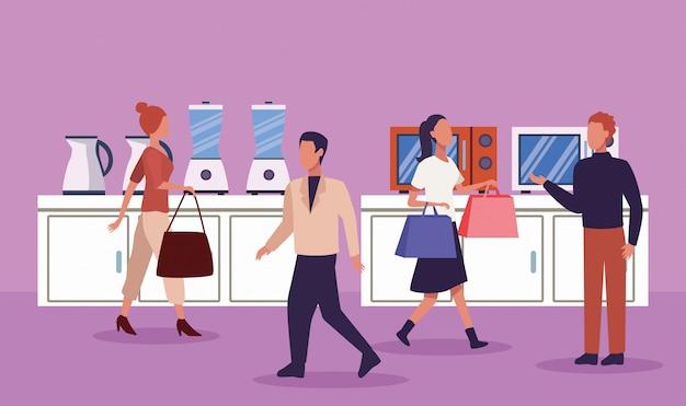 Grupa ludzi w sklepie urządzenia w dzień zakupów