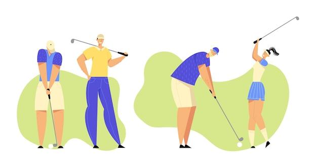 Grupa ludzi w sporcie w mundurze gry w golfa na zielonym polu