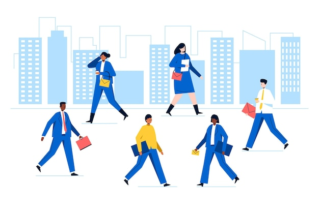 Grupa ludzi wracających do pracy