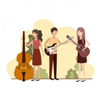 Grupa ludzi z instrumentami muzycznymi w krajobrazie