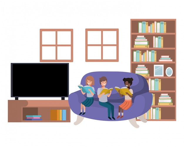 Grupa ludzi z książką w salonie avatar charakter