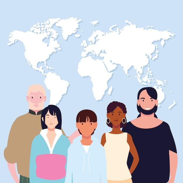 Grupa ludzi z mapą ziemi