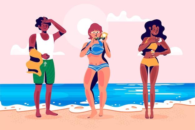 Grupa ludzi z oparzeniami słonecznymi