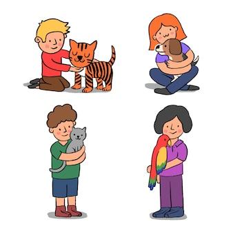 Grupa ludzi z różnymi zwierzętami
