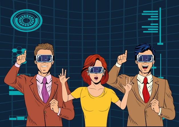Grupa ludzi z wirtualnej rzeczywistości zestaw słuchawkowy