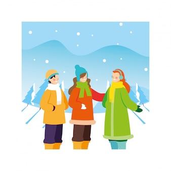 Grupa ludzi z zimą ubrania w krajobraz ze śniegu