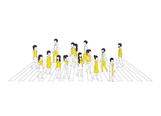 Grupa ludzi z żółtym ubrania spaceru