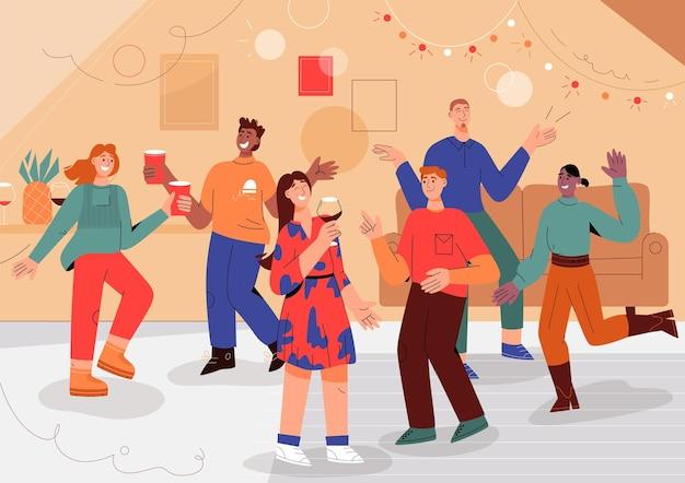 Grupa ludzi zabawy na imprezie domowej.