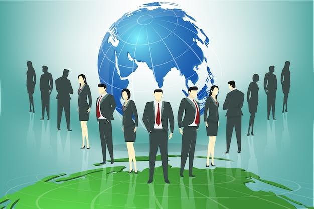 Grupa ludzie biznesu stoi przed światową mapą