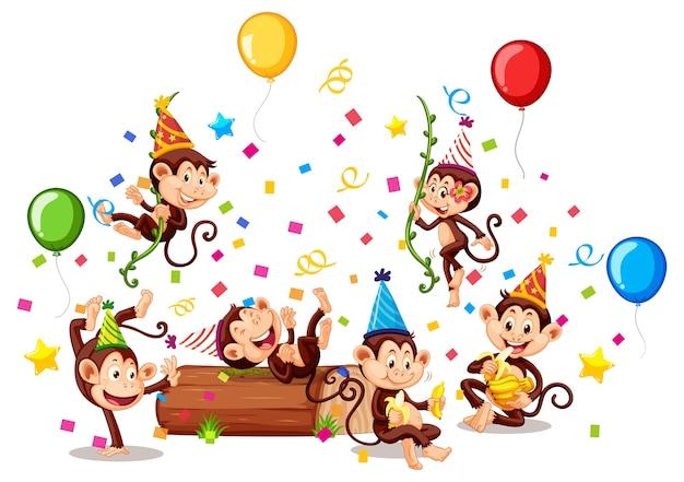 Grupa małp w temacie partii na białym tle