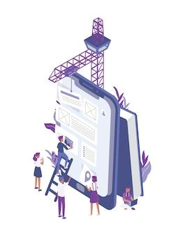 Grupa malutkich ludzi tworzących aplikację mobilną na gigantycznym tablecie