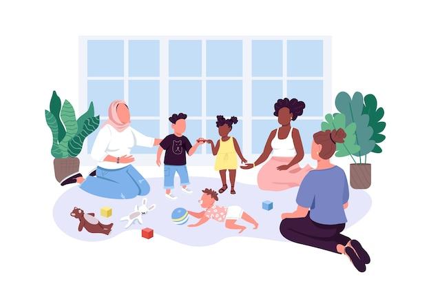 Grupa mama-dziecko płaskie kolorowe postacie bez twarzy. matki spędzają czas ze swoimi dziećmi
